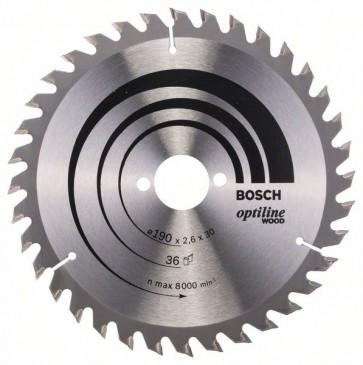 Bosch Lama per sega circolare Optiline Wood 190 x 30 x 2,6 mm, 36