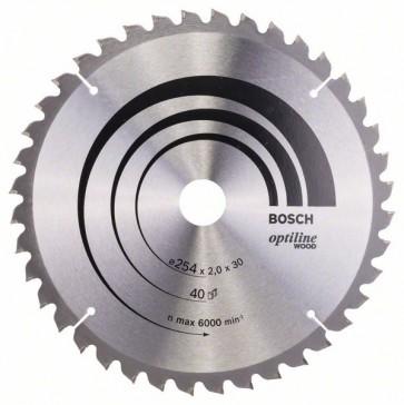Bosch Lama per sega circolare Optiline Wood 254 x 30 x 2,0 mm, 40