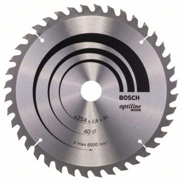 Bosch Lama per sega circolare Optiline Wood 254 x 30 x 2,8 mm, 40
