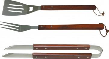 Attrezzi barbecue set 3 pezzi manici in legno