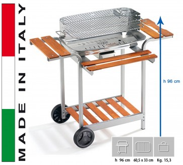 Barbecue Carbone Ompagrill Barbecue 60-40 Pro/C h 96 misure 60,5x33 con cassetto