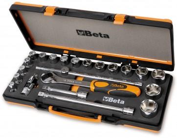 Beta assortimento di 17 chiavi a bussola esagonali e 5 accessori in termoformato morbido, in cassetta di lamiera 920A/C17M