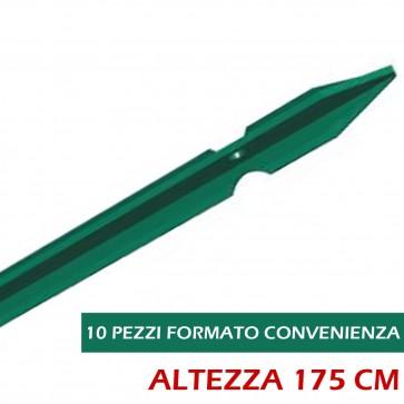 Paletto per Recinzione Verde T altezza 175 Palo Plastificato