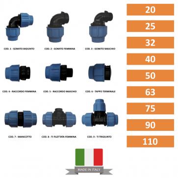 Raccordi in Polietilene per Tubi Manicotti Gomiti Ti Raccordi Tappi Terminali da 20-25-32-40-50-63-75-90-110