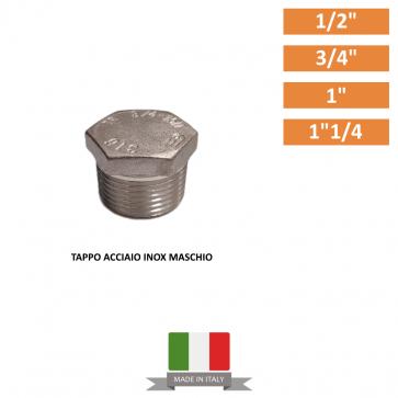 """TAPPO ACCIAIO INOX MASCHIO DA 1/2"""" A 1""""1/2"""