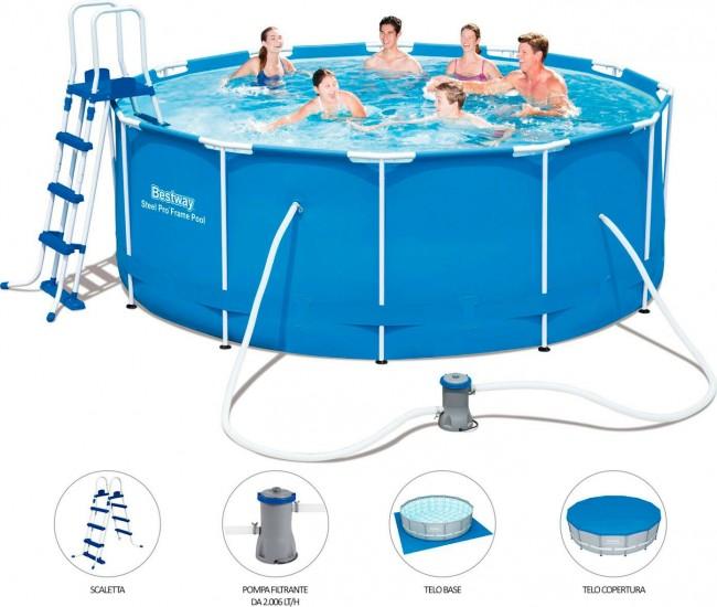 Piscina fuori terra bestway 56420 cm 366 h122 con pompa for Attrezzi per piscina