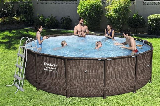 Piscina rotonda fuori terra bestway 56664 cm 427x107 lt for Attrezzi piscina