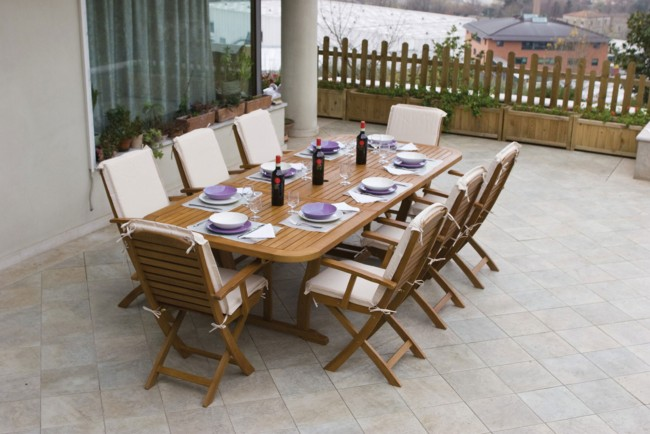 Set Arredo Imperiale 8 posti in legno tavolo 180x100x75h