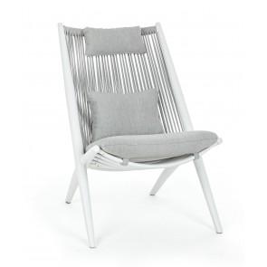 Bizzotto Poltrona Lounge C-C Aloha Bianco XK03 in Alluminio Cuscini Sfoderabili