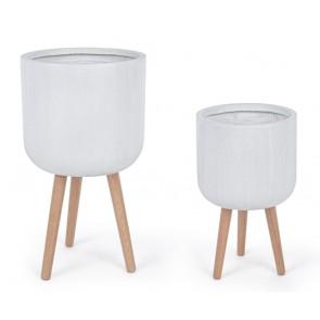 Set di 2 Pezzi Vasi in Fibra di Vetro e Legno Bizzotto Modern Treppiede Bianco