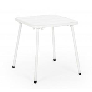 Bizzotto Tavolino Marlyn Bianco 40X40cm in Acciaio con ECoating a Finitura Opaca