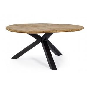 Tavolo in Legno Teak e Alluminio Bizzotto Palmdale 160cm Carbon RT02