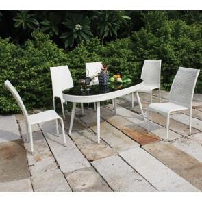 Tavolo da giardino ovale SABRINA 160x91x73h bianco polirattan con vetro