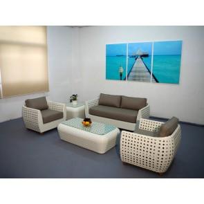 Salotto VIENNA in polirattan composto da tavolo divano 2 poltrone