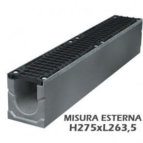 Canaletta di Scolo Drenaggio Acqua in Calcestruzzo GREENPIPE SMART PRO 200 Misura Esterna H275xL263,5 con 2 griglia in ghisa D400