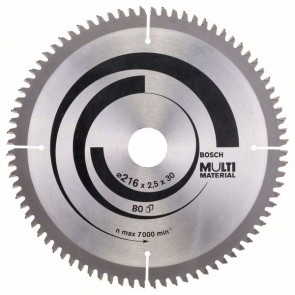 Bosch Lama per seghe circolari Multi Material 216 x 30 x 2,5 mm, 80