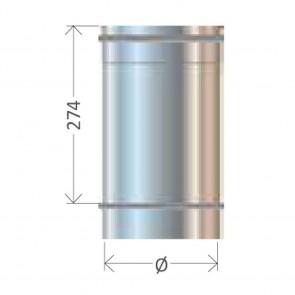 Tubo Dritto L 330 diametro 80 a 400 Canna Fumaria Cordivari Mono Parete Inox 304