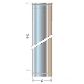 Tubo Dritto L 1000 diametro 80 a 400 Canna Fumaria Cordivari Mono Parete Inox 304