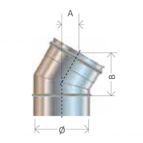 Curva 30 gradi diametro 80 a 400 Canna Fumaria Cordivari Mono Parete Inox 304