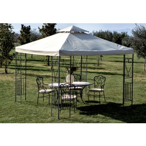 Gazebo In Metallo Mt.3x3 Decor. Ecru Yf-3133B