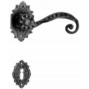 Maniglia Rustica per Porta in ferro battuto Galbusera Art.510 Nero Antico