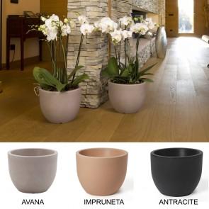 Vasi piante CONCA resina 30x23h 40x31h antracite impruneta avana