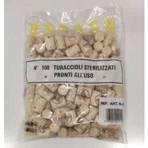 Confezione da 100 Tappi per Bottiglie in Sughero Turaccioli Agglomerati Pronti all'Uso 26x38 Art. N. 2