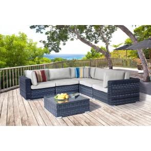 Salotto da Giardino in polirattan ad angolo MADERA 4PZ divano angolo sedute e tavolino