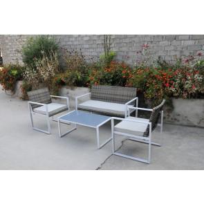 Salotto da Giardino in polirattan SIENA 4PZ divano due poltrone e tavolino