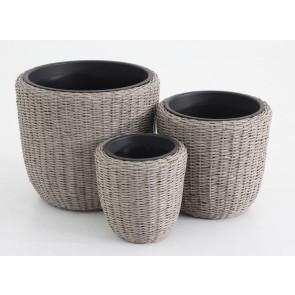 Set 3 Vasi Polirattan Tondi