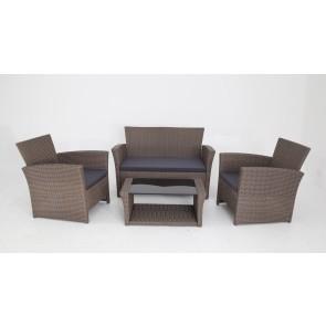 Salotto da Giardino in polirattan praga 4PZ divano due poltrone e tavolino