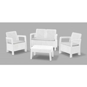 Salotto da Giardino in polirattan TARIFA 4PZ divano due poltrone e tavolino