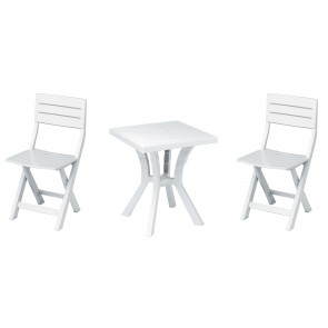 Set  Duetto Resina  Tavolo + 2 Sedie Bianco