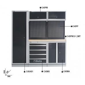 Arredi B - 2mt Piano Legno 2 Mod+Armadio BETA Cod. C45/BW