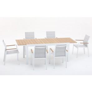 Tavolo in Alluminio Allungabile Beverly Bianco 164- 225x90cm M0947-08
