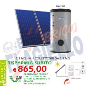 Pannello Solare Cordivari ECO BASIC 200 2,5MQ per Tetto Falda e Piano Circolazione Forzata Sanitaria Doppio Scambio Integrazione Caldaia