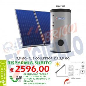 Pannello Solare Cordivari ECO BASIC 300 7,5 MQ per Tetto Falda e Piano Circolazione Forzata Sanitaria Doppio Scambio Integrazione Caldaia