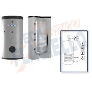 Cordivari Bollitore Polywarm Bolly 1 BC WB da 150 a 500 con 1 Scambiatore Fisso per produzione di Acqua Calda Sanitaria a Coibentazione Rigida e Connessioni Allineate sul Retro