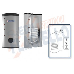 Cordivari Bollitore Polywarm Bolly 1 Slim Classe A da 200 a 500 con 1 Scambiatore Fisso per produzione di Acqua Calda Sanitaria a Coibentazione Rigida
