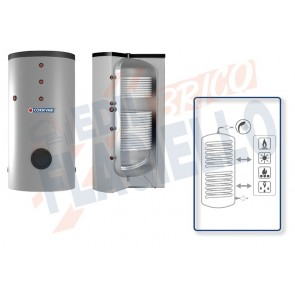 Cordivari Bollitore Polywarm Bolly 2 BC WSB da 200 a 500 con 2 Scambiatori Fissi per produzione di Acqua Calda Sanitaria a Coibentazione Rigida e Connessioni Allineate sul Retro
