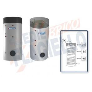 Cordivari Bollitore Polywarm Bolly 3 PDC WB da 300 a 500 con 2 Scambiatori Fissi in Acciaio rivestito in Polywarm per Pompe di Calore e produzione di Acqua Calda Sanitaria con Integrazione Solare e Tradizionale a Coibentazione Rigida