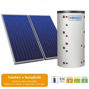 Pannello Solare Sistema Termico Circolazione Forzata Cordivari COMBI 2 600 5x2,5 Acqua Calda Sanitaria E Riscaldamento
