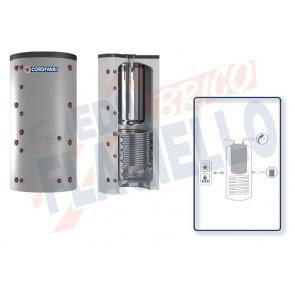 Cordivari Termoaccumulatore Combi 2 XB da 500 a 1000 in Acciaio Inox 316L con 1 Scambiatore Fisso in Acciaio al Carbonio per Acqua di Riscaldamento e produzione di Acqua Calda Sanitaria a Coibentazione Rigida e Rigida Smontabile