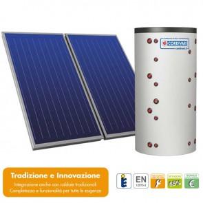 Pannello Solare Sistema Termico Circolazione Forzata Cordivari ECO-COMBI 2 600 5x2,5 Acqua Calda Sanitaria E Riscaldamento