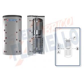 Cordivari Termoaccumulatore Combi 3 XB da 500 a 1000 in Acciaio Inox 316L con 2 Scambiatori Fissi in Acciaio al Carbonio per Acqua di Riscaldamento e produzione di Acqua Calda Sanitaria a Coibentazione Rigida