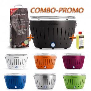 Combo Promo Barbecue Portatile LOTUS GRILL G340 L CLASSIC a Carbone per Interno ed Esterno fino a 5 Persone VARI COLORI