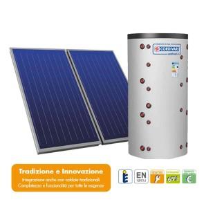 Pannello Solare Sistema Termico Circolazione Forzata Cordivari COMBI 3 500 4x2,5 Acqua Calda Sanitaria E Riscaldamento
