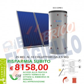 Pannello solare CORDIVARI ECO COMBI 2 2000 10X2,5 MQ CIRCOLAZIONE FORZATA