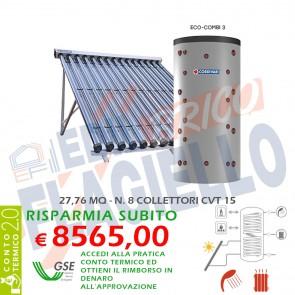 Pannello Solare Cordivari ECO COMBI 3 CVT 1500 8X15 SOTTOVUOTO Circolazione Forzata Sanitaria e Riscaldamento