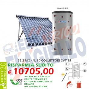 Pannello Solare Cordivari ECO COMBI 3 CVT 2000 10X15 SOTTOVUOTO Circolazione Forzata Sanitaria e Riscaldamento